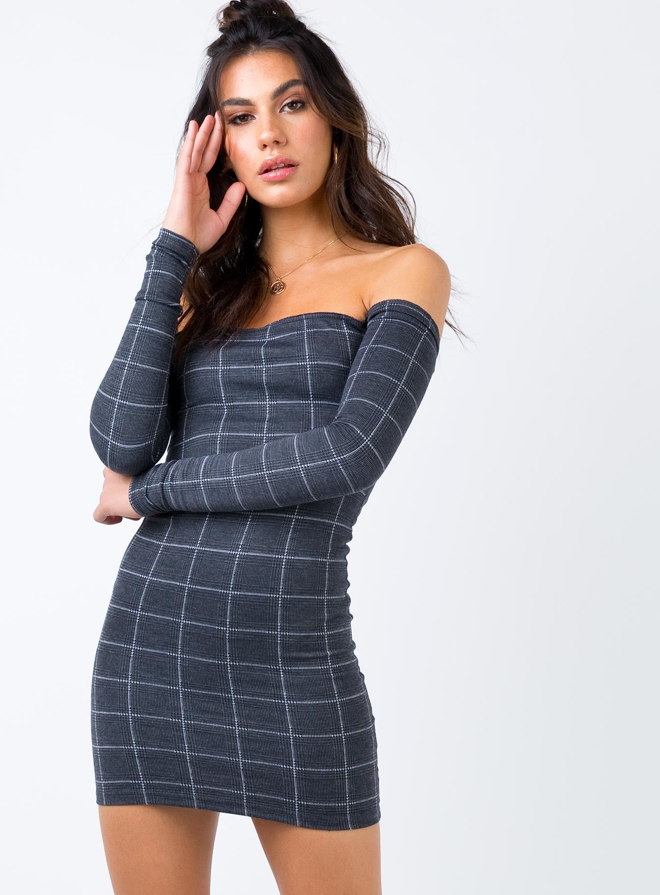 Blank Lines Off The Shoulder Mini Dress Charcoal