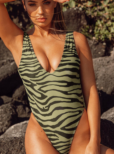 Motel Zala Swimsuit Khaki Tiger
