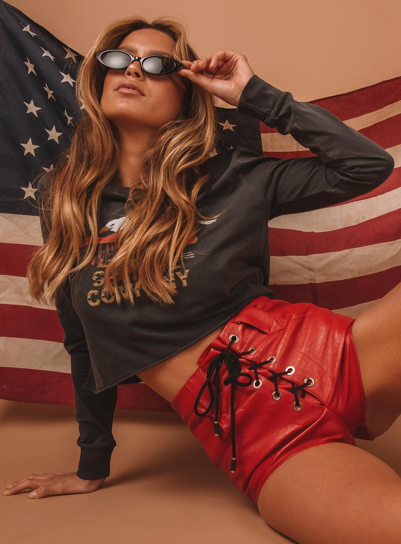 Red Skylar Lace Up Shorts