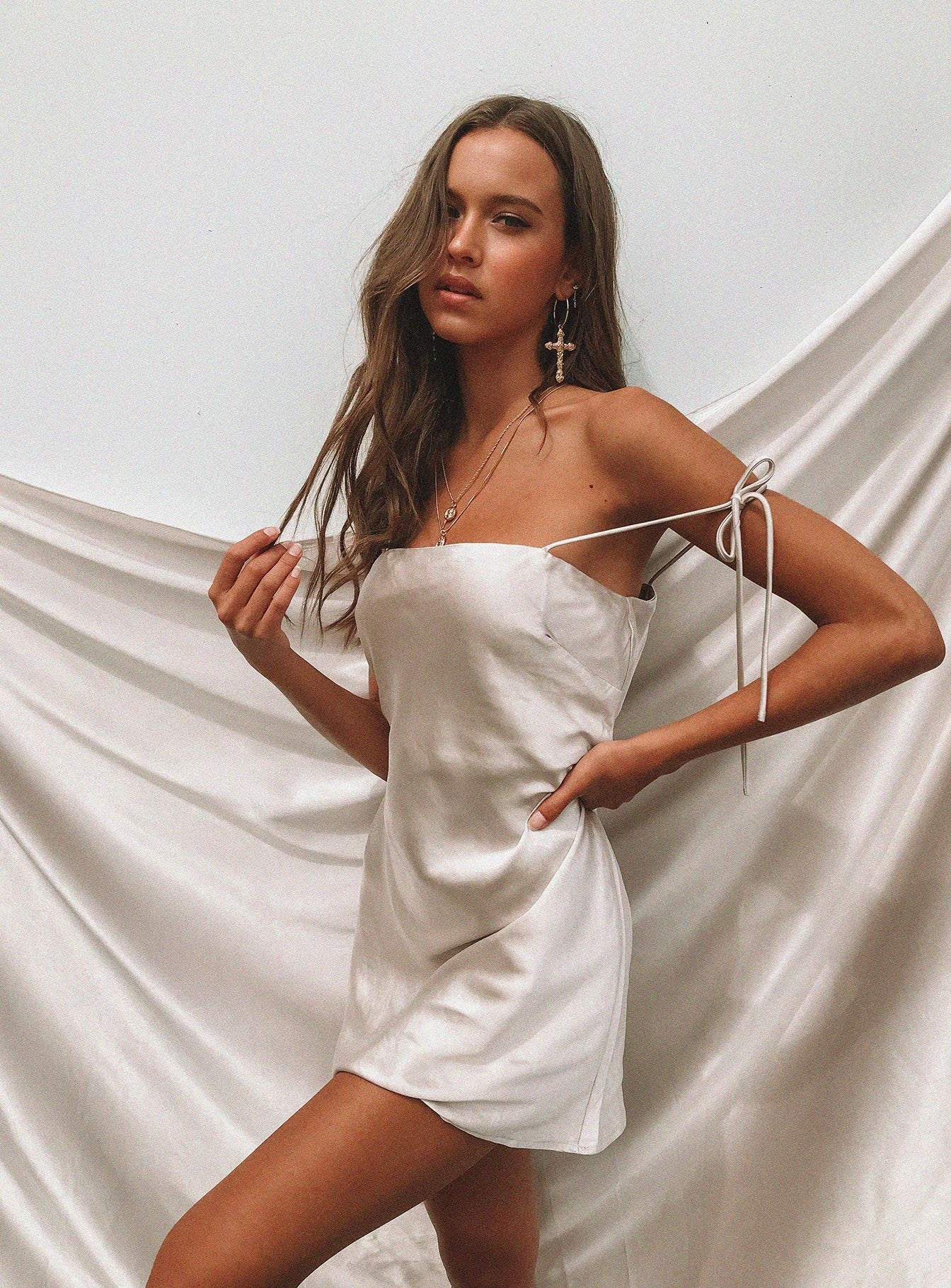 The Silky Slip Mini Dress Champagne
