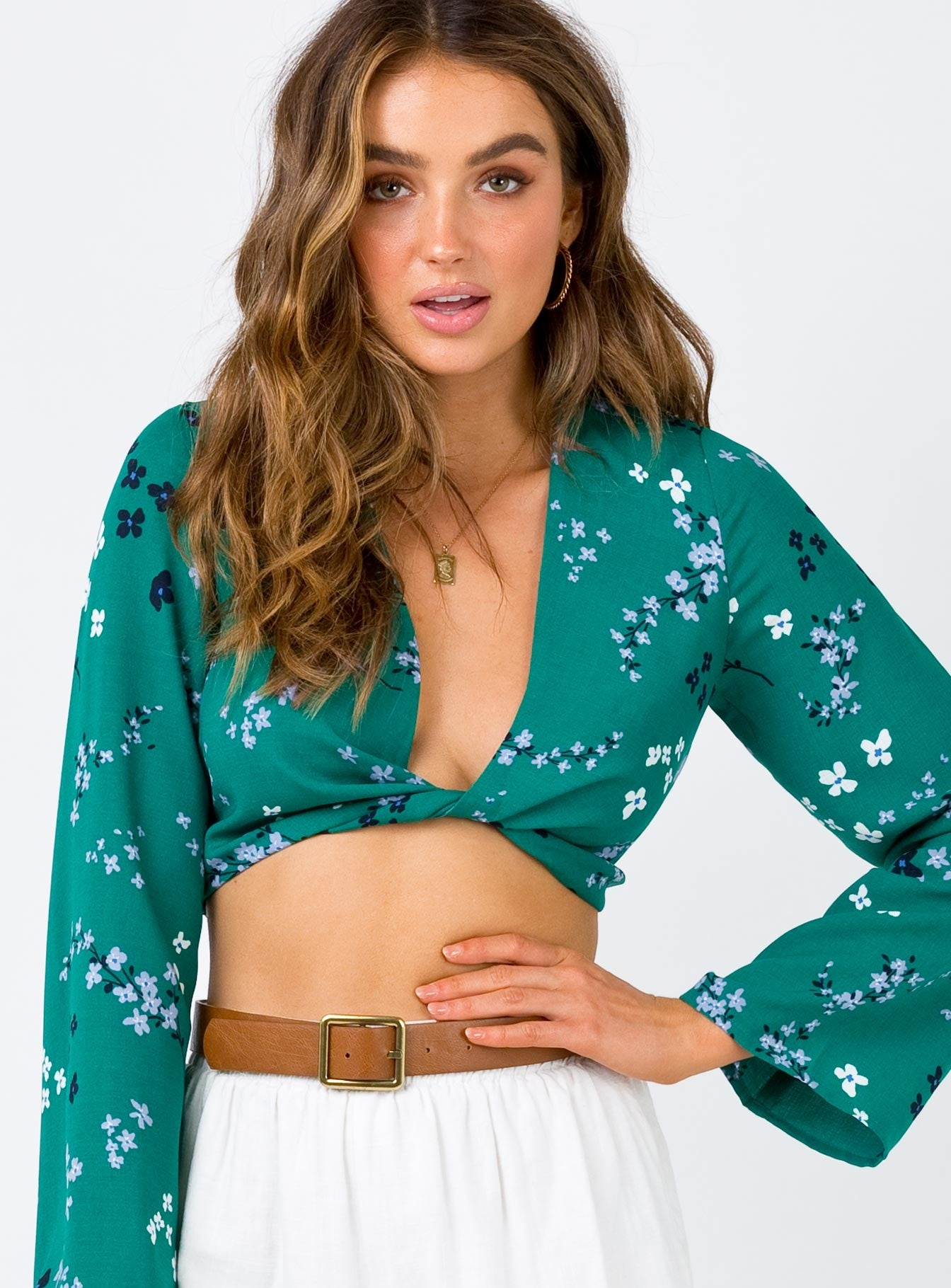 Minkpink Dusk Meadow Twist Crop Green Multi
