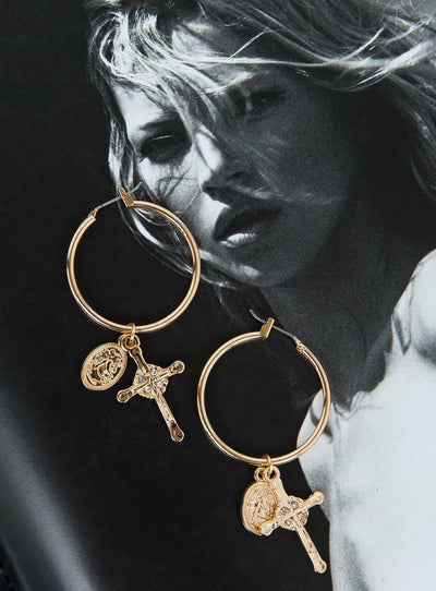 Cross & Coin Hoop Earrings Gold