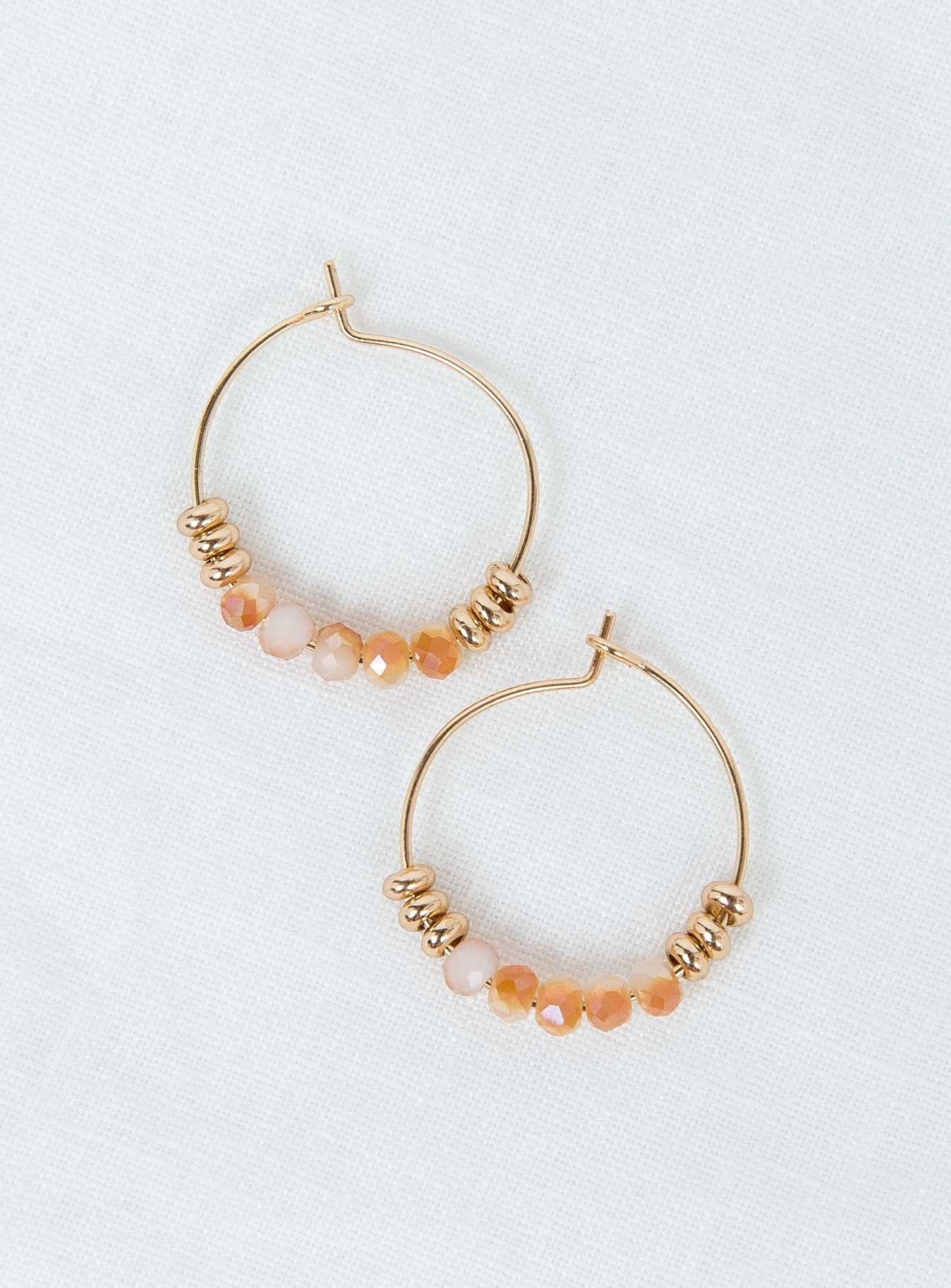 Alma Beaded Hoops Beige/Gold