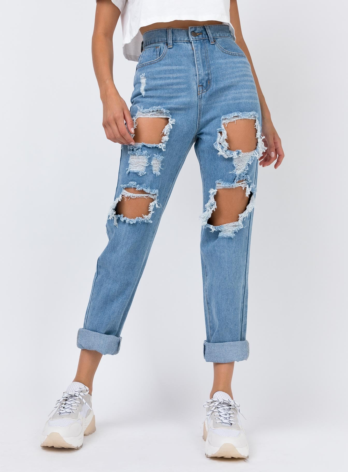 Lazulli Ripped Jeans Mid Wash Denim