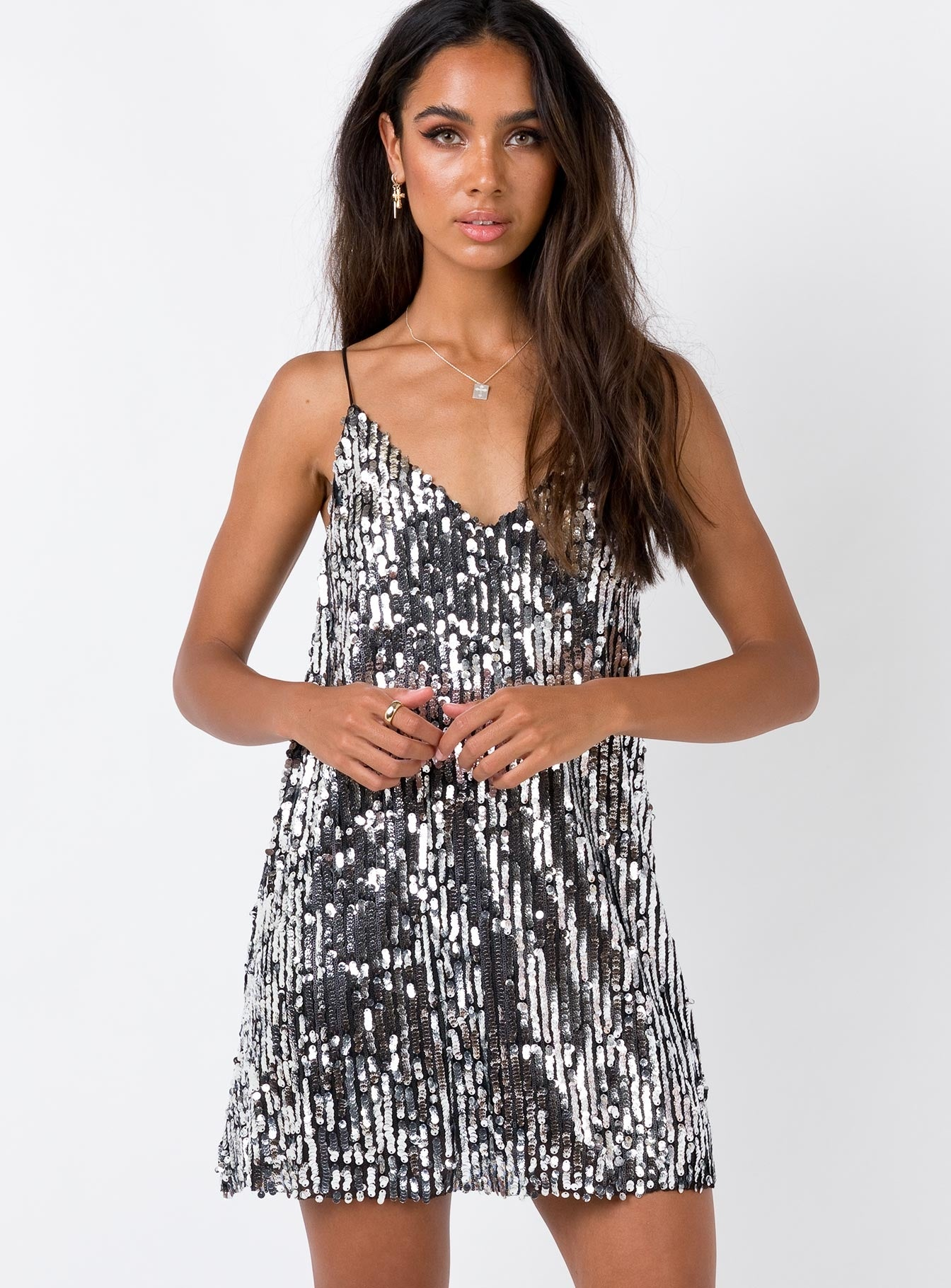 Night Fever Sequin Mini Dress Black/Silver