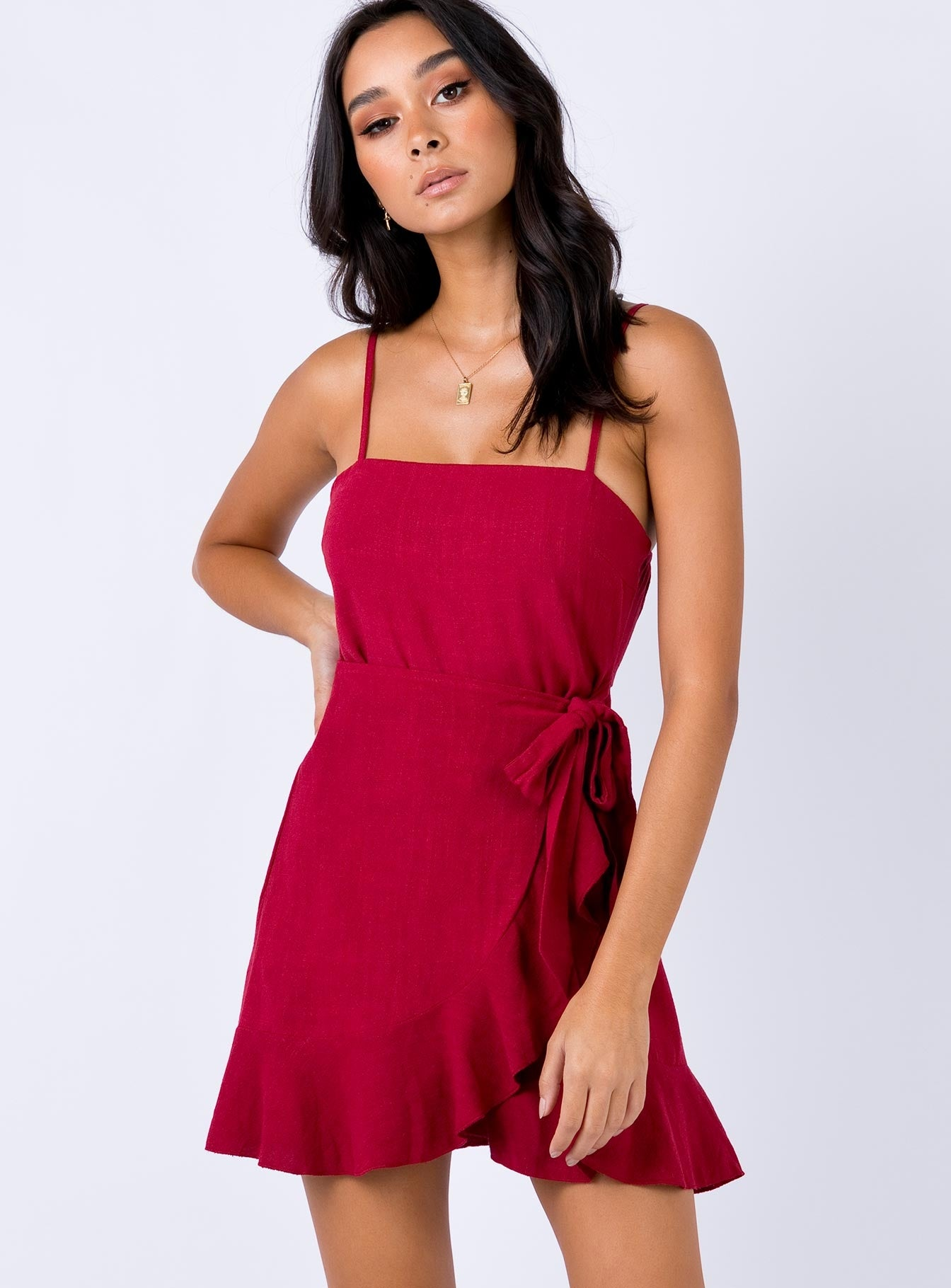 Caedere Mini Dress Maroon