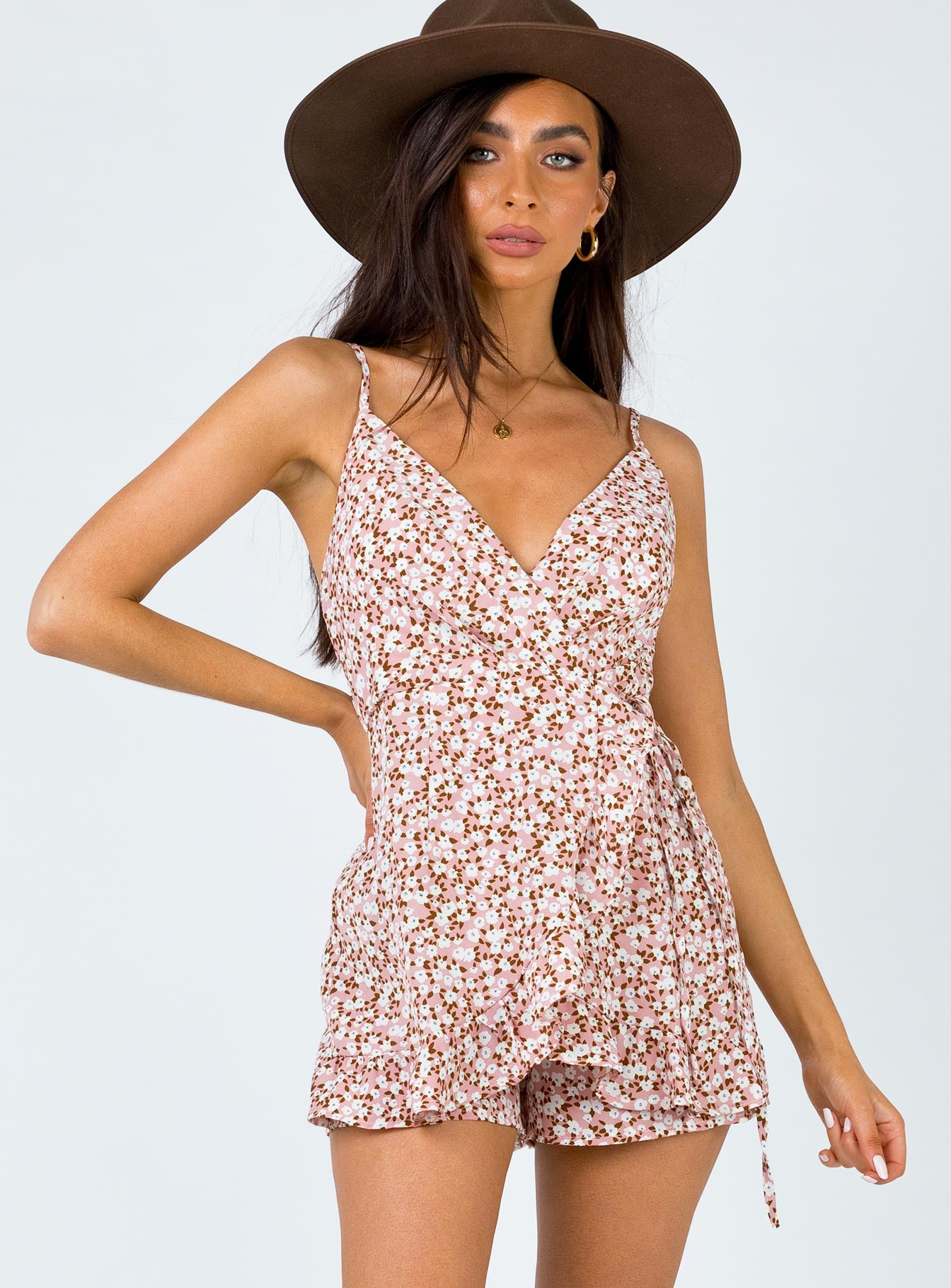Angelle Playsuit Pink/White Floral