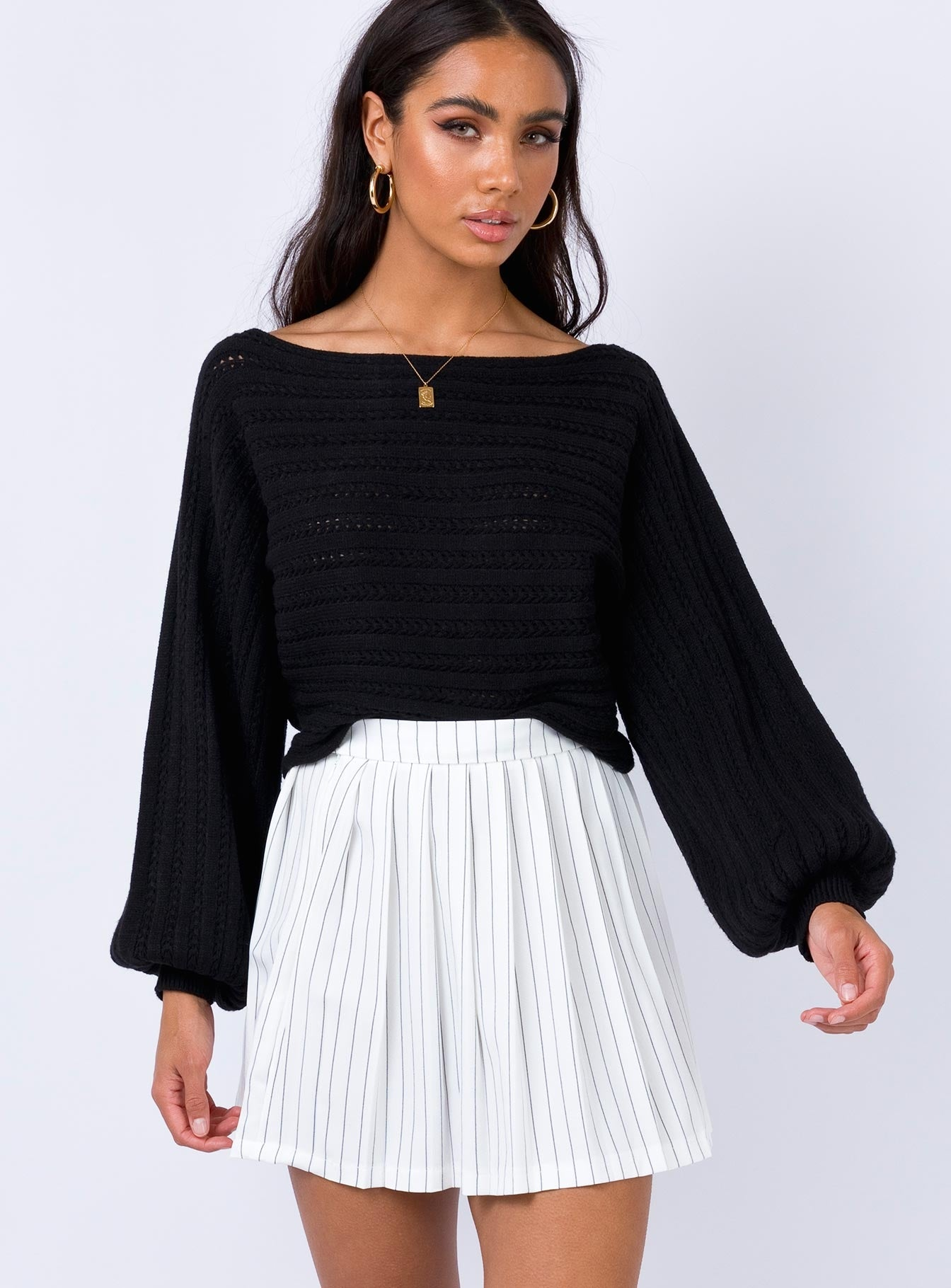 High Life Pleat Skirt White
