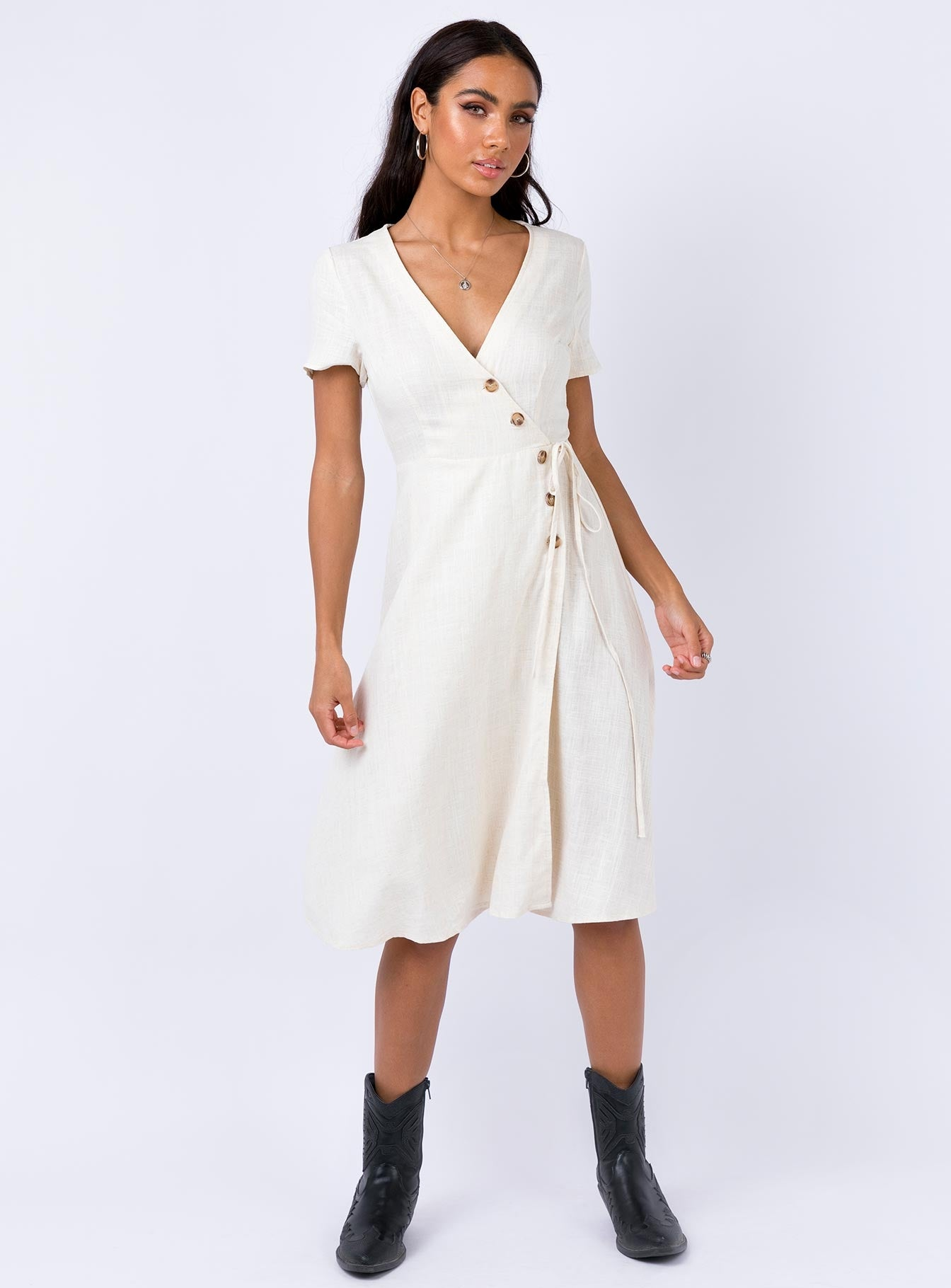 Lothran Midi Dress Beige