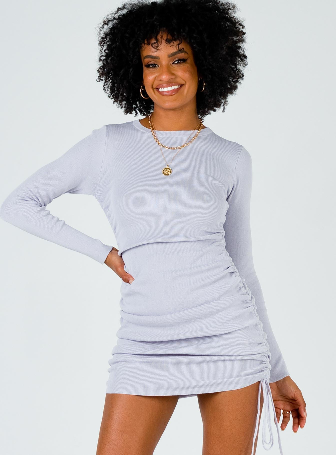 Military Minds Long Sleeve Mini Dress Dusty Purple