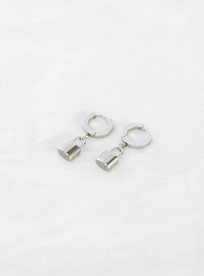 Penny Padlock Earrings Silver