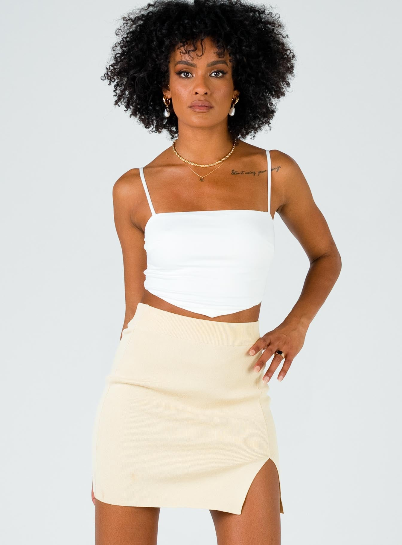 The Lola Mini Skirt Ecru