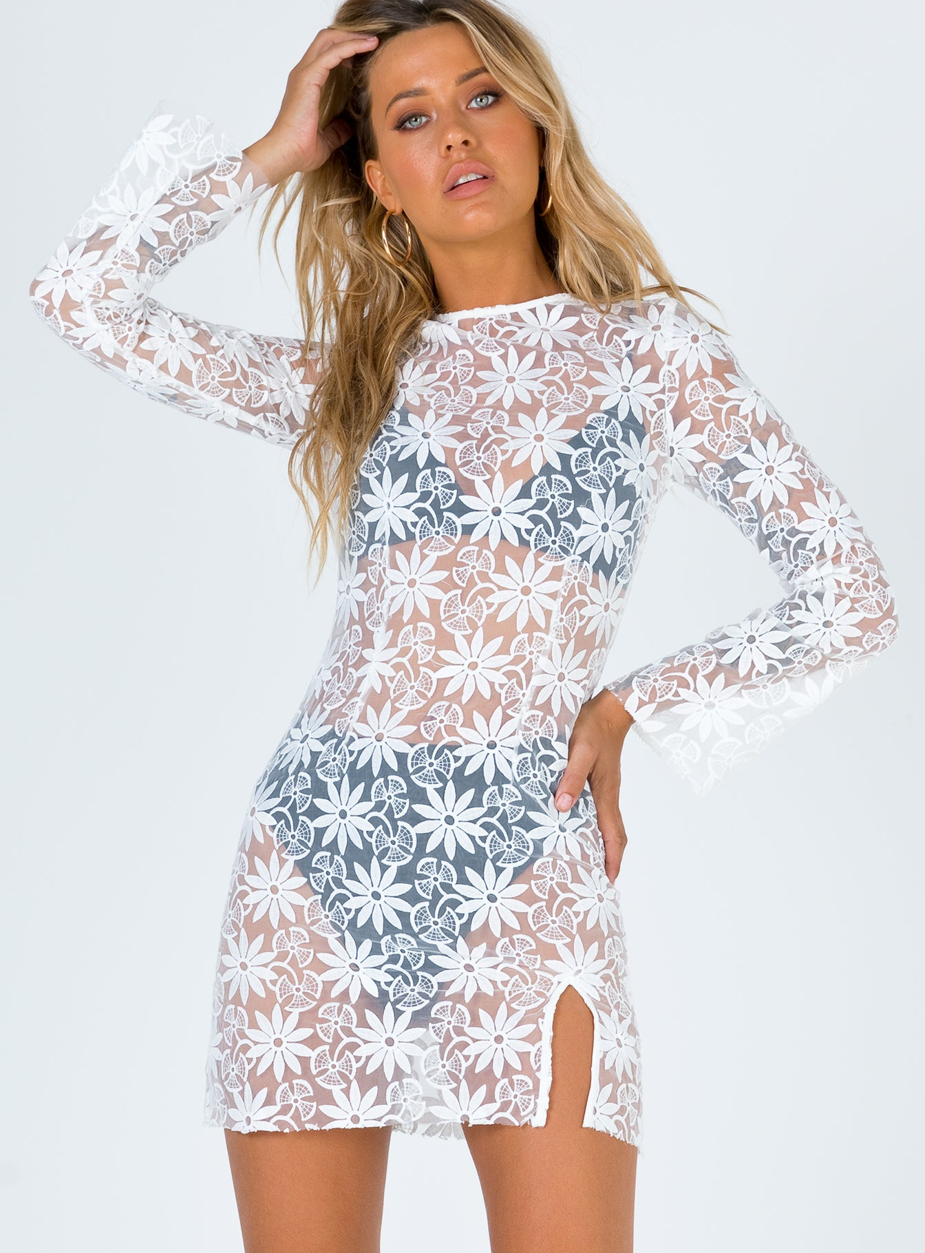 Dancing Queen White Lace Mini Dress
