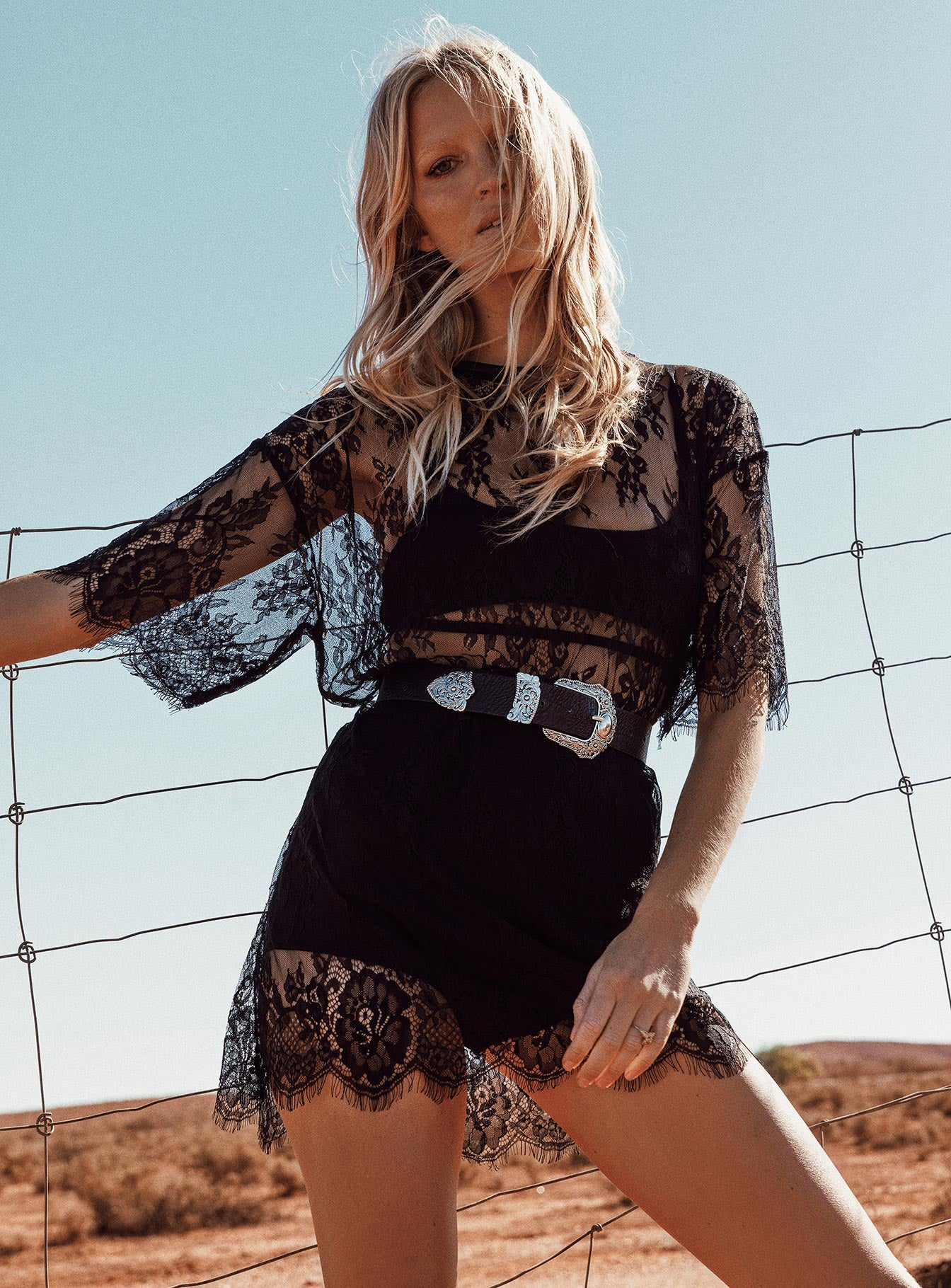 Motel Sunny Kiss Dress Eyelash Lace Black