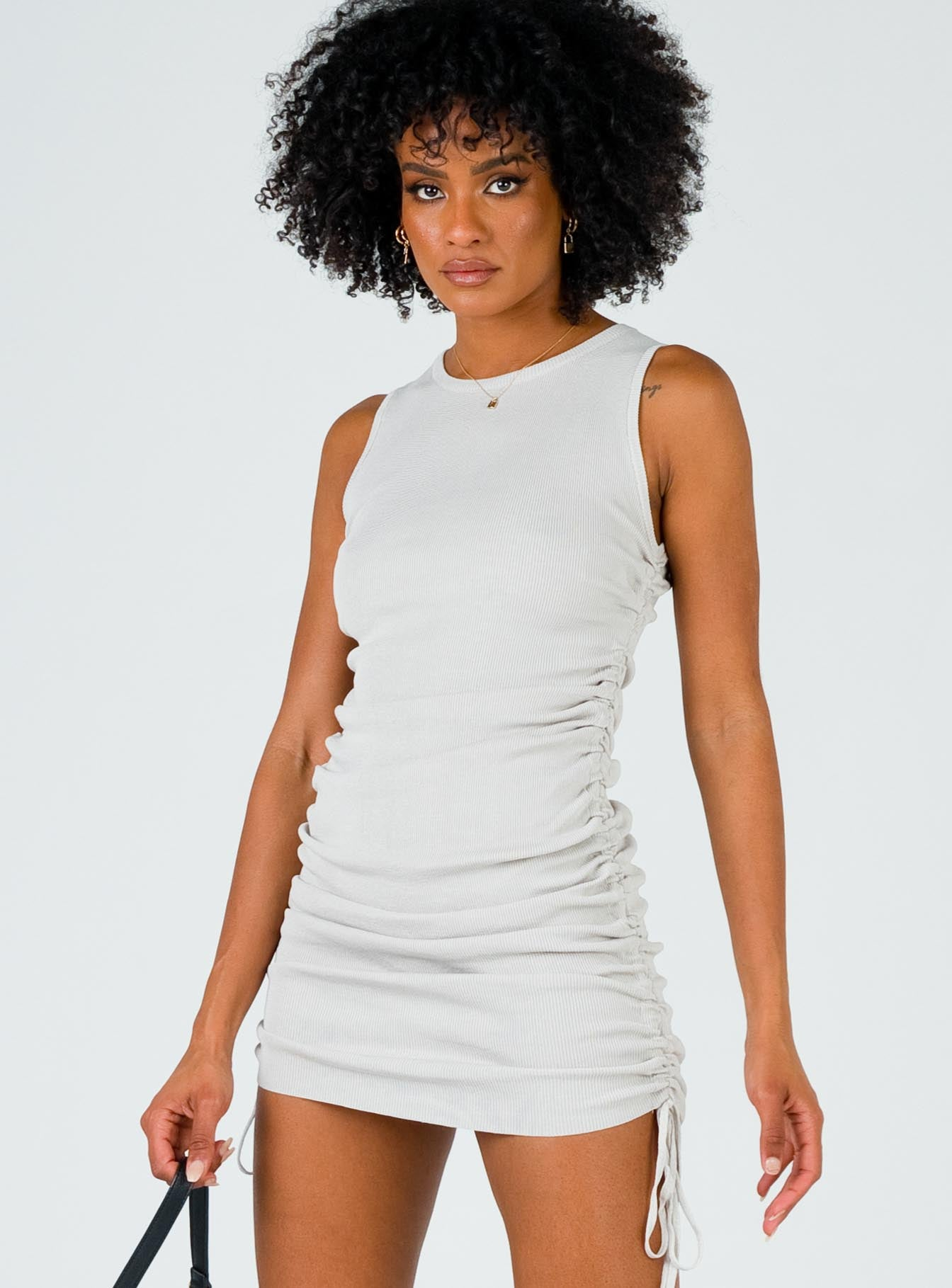 Military Minds Mini Dress Light Grey