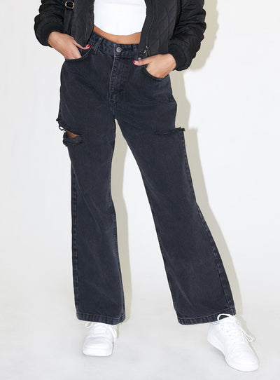 The Ragged Priest Double Thigh Cut Charcoal Dad Jeans