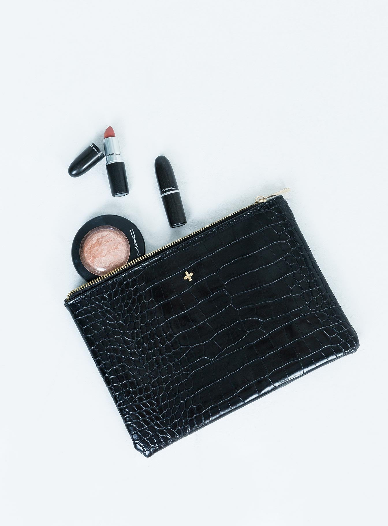 Peta & Jain Malone Black Croc Make-Up Bag