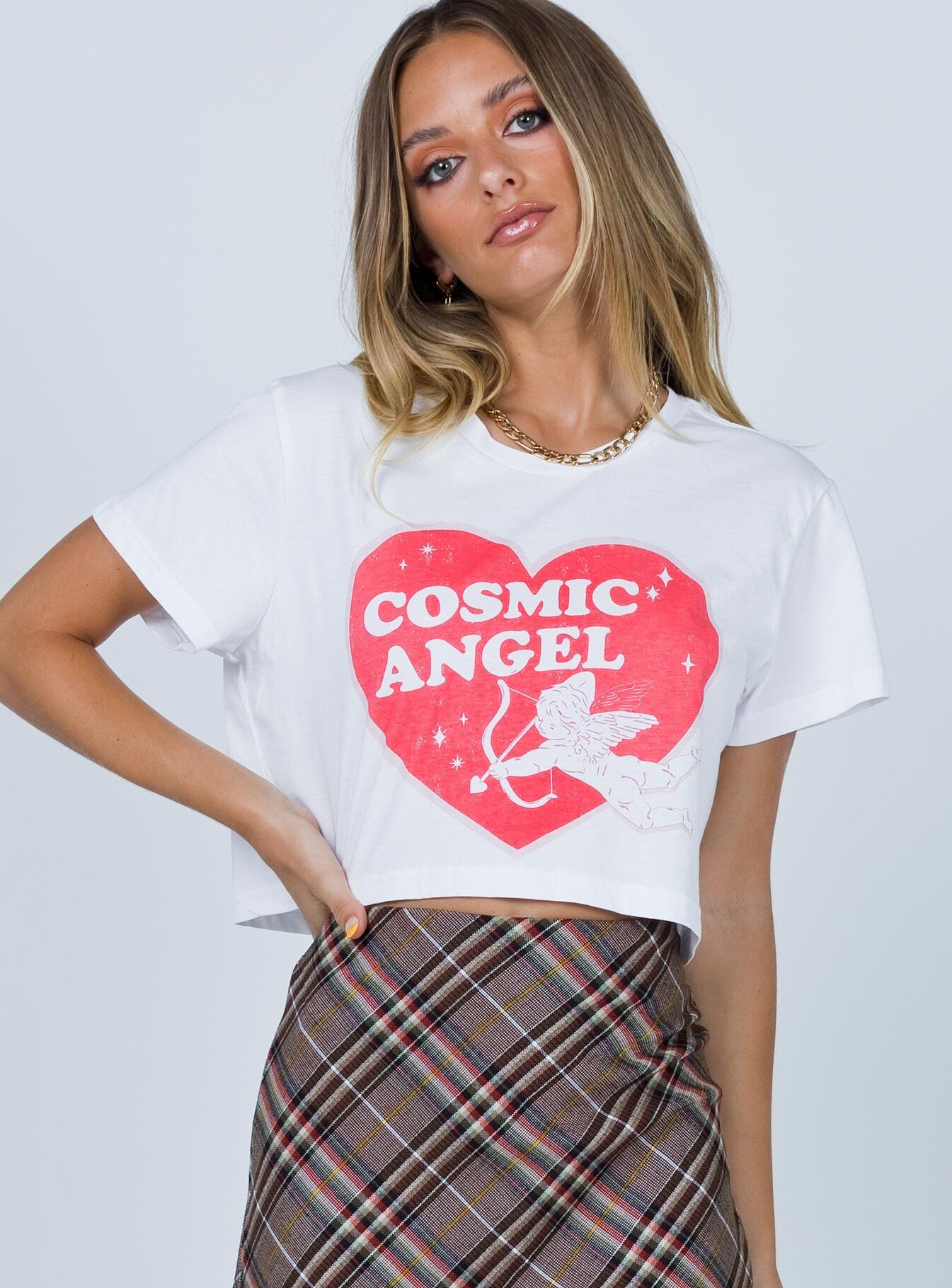 Cosmic Angel Cropped White Tee