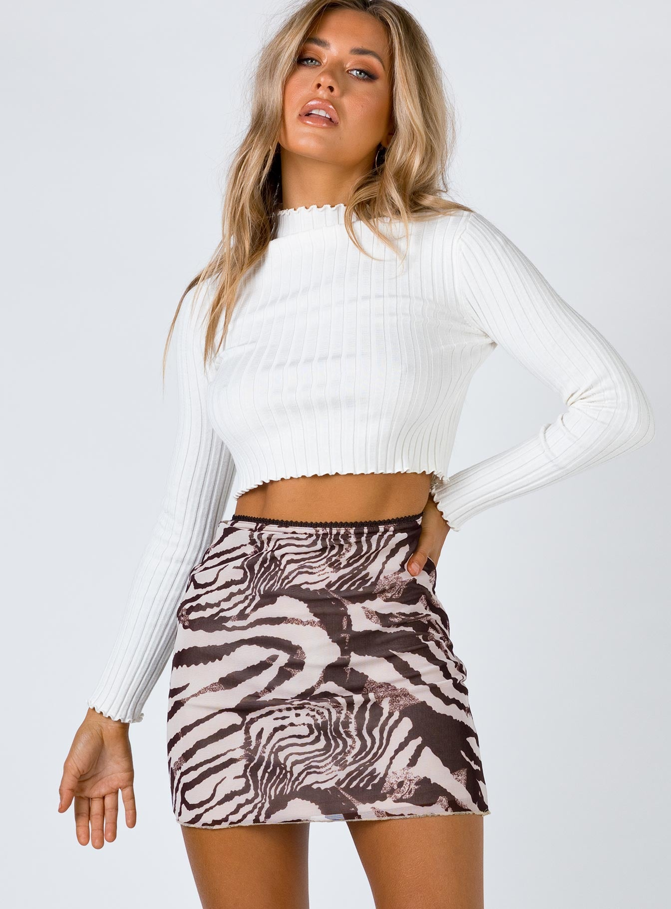 Vincent Mini Skirt Beige Print