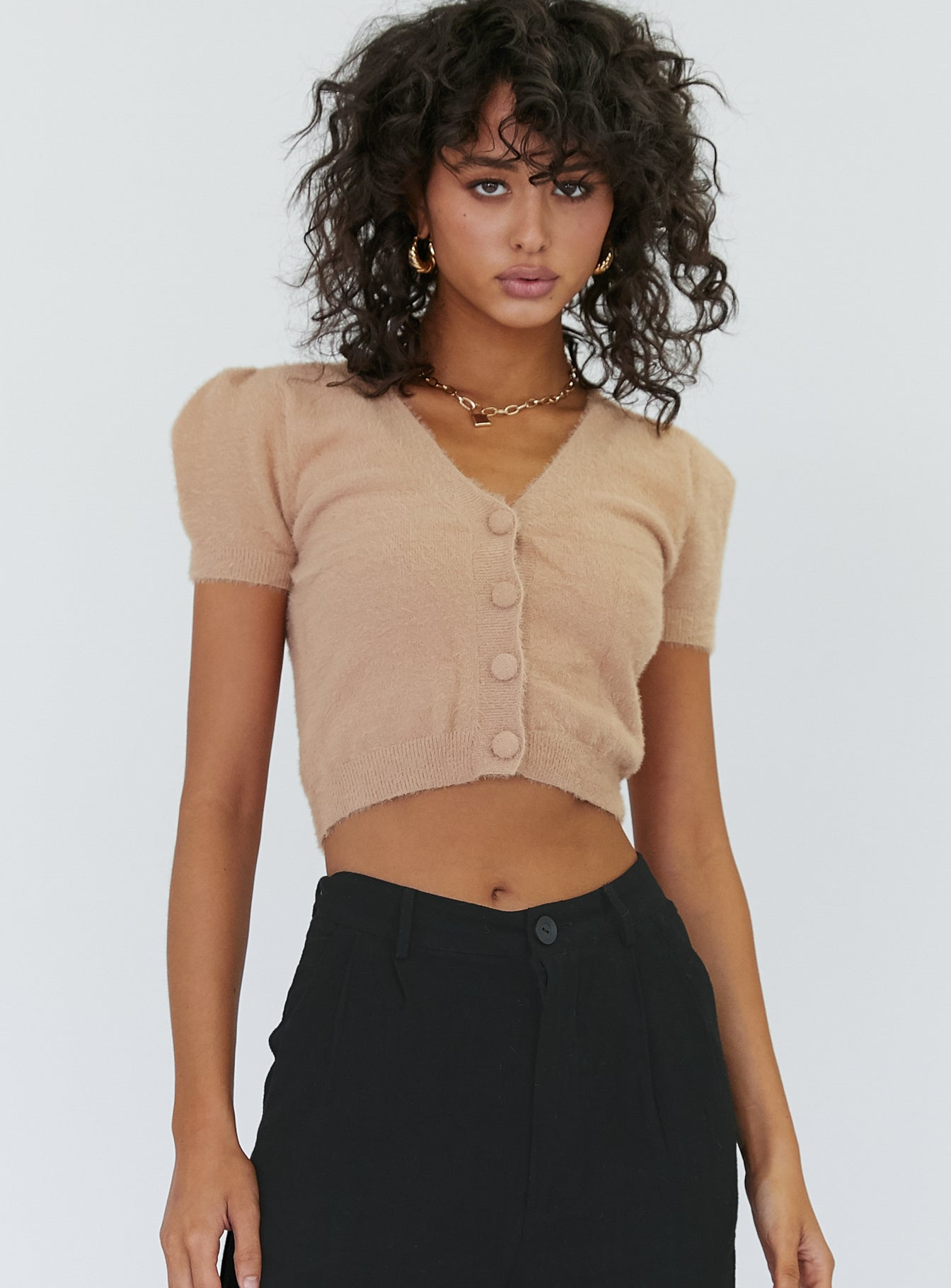 Tobin Cropped Top Beige