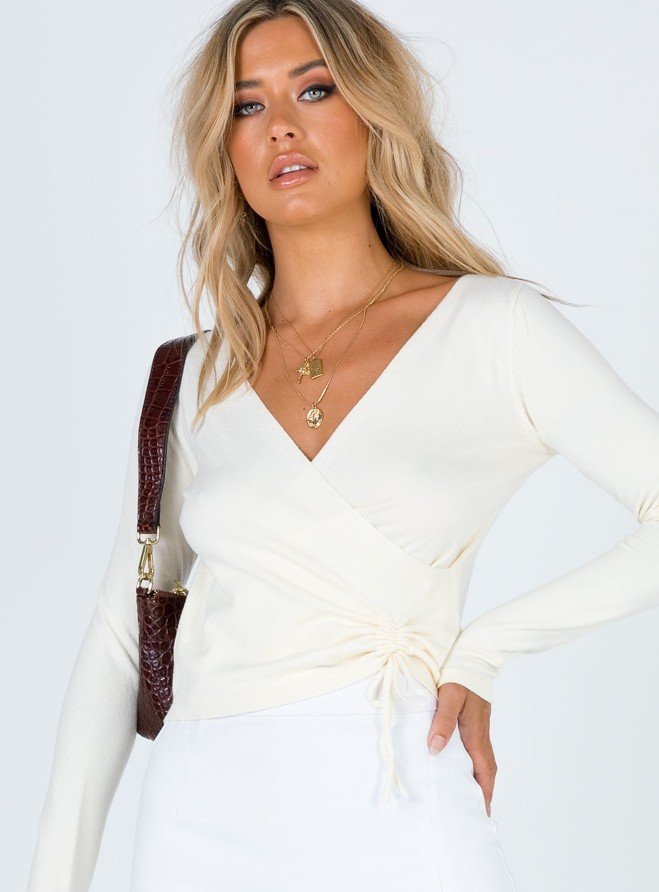Evelina Wrap Front Sweater Beige