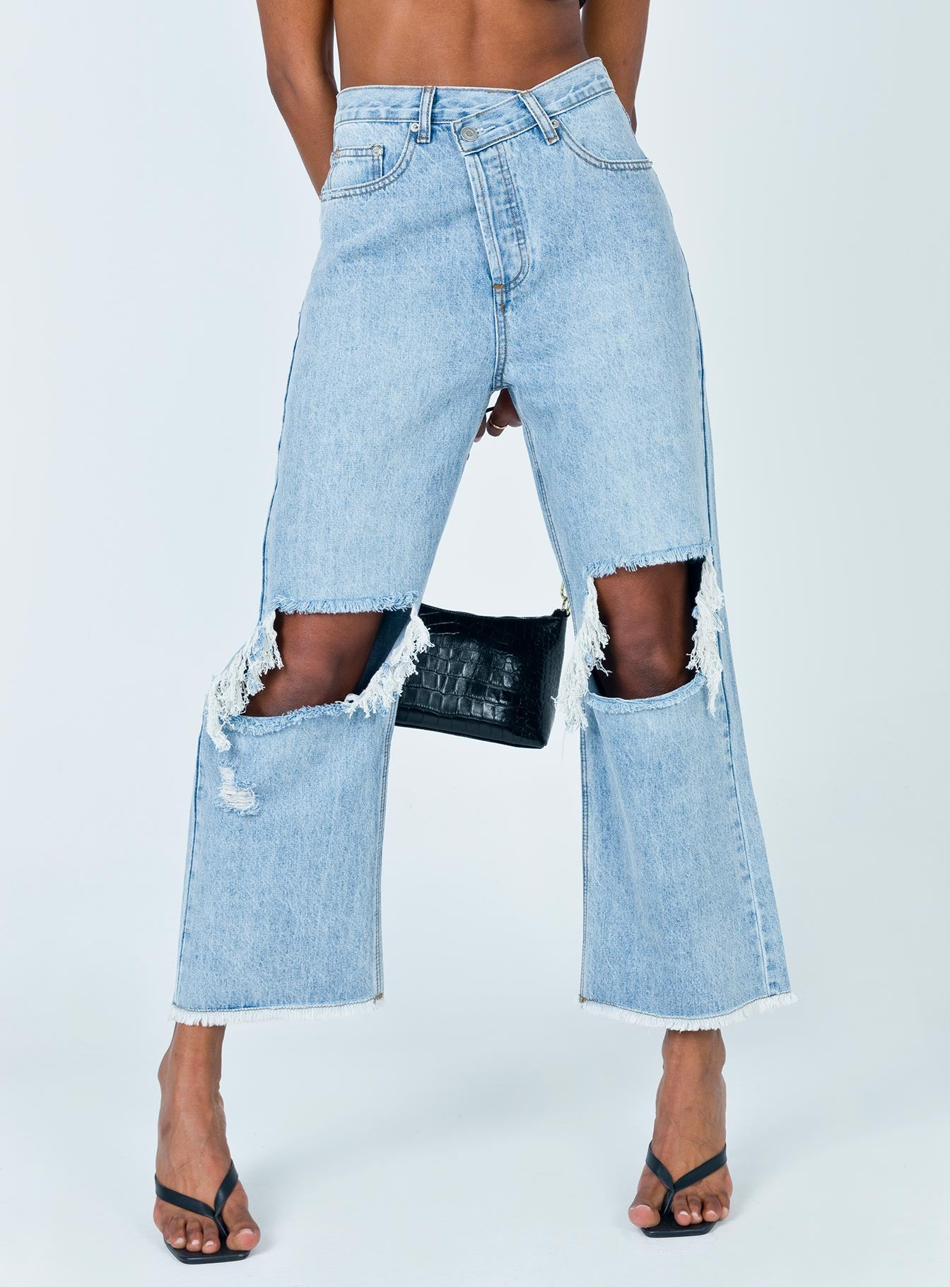 Holly Asymmetric Straight Leg Jean Knee Rips Light Wash Denim