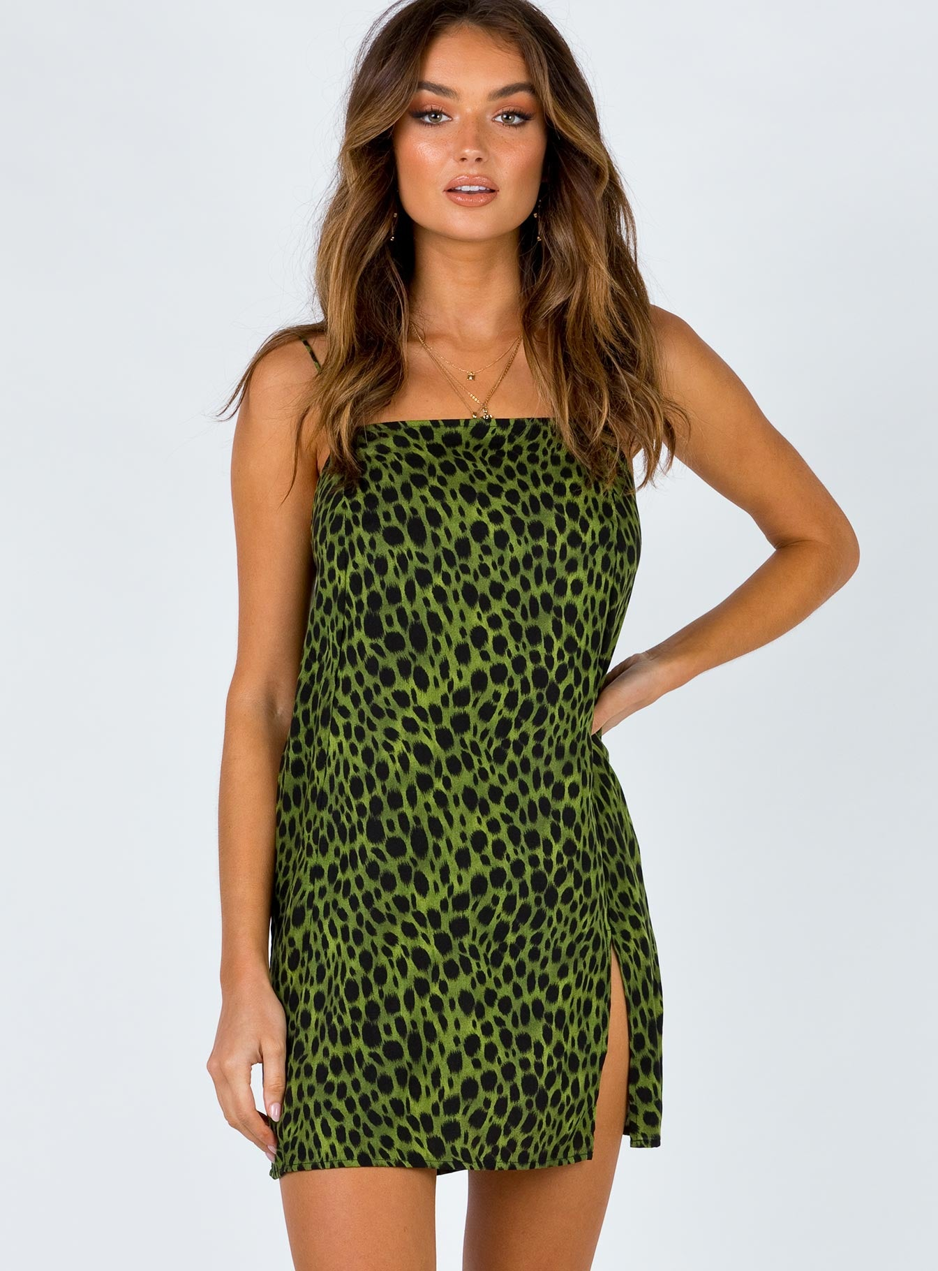Motel Datista Dress Khaki Cheetah