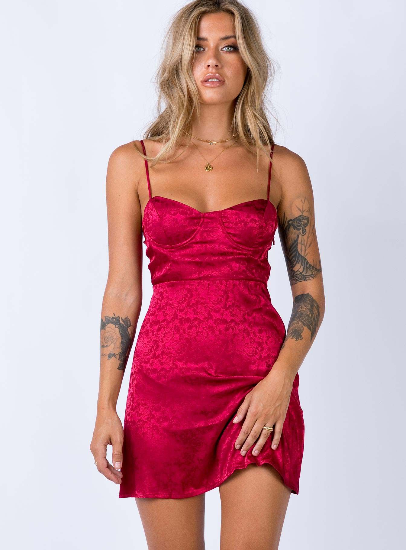 Diva Mini Dress Deep Red