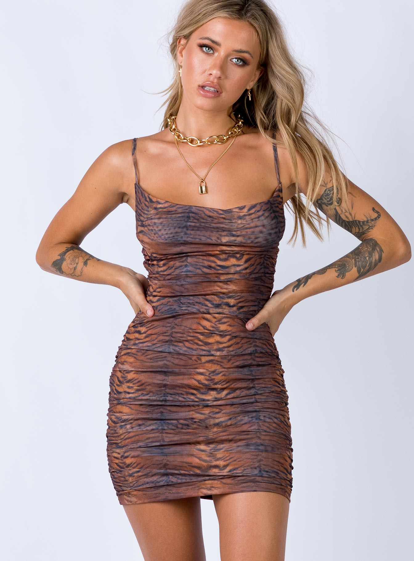 Harlan Mini Dress Brown