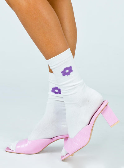 Flower Power Socks White / Purple