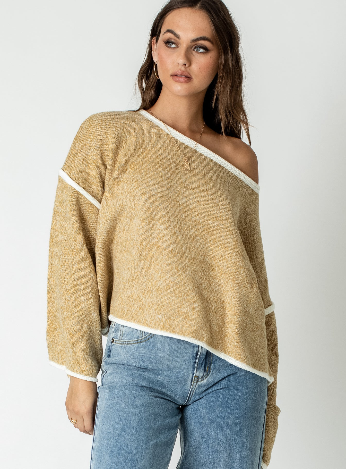 Reece Off The Shoulder Sweater Mustard