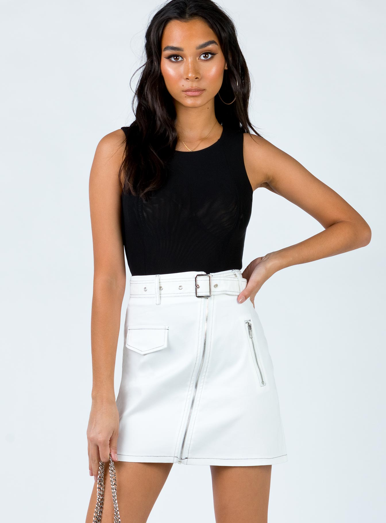 Mikayla Mini Skirt White