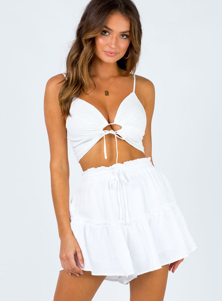 Neila Shorts White by Princess Polly, available on princesspolly.com for $45 Kendall Jenner Shorts SIMILAR PRODUCT