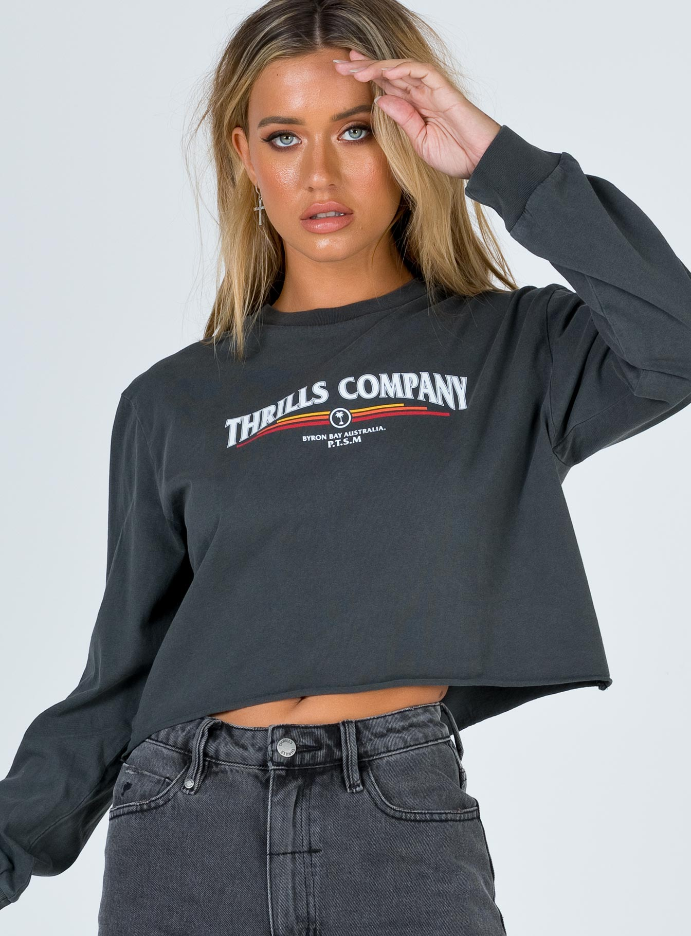 Thrills Redline LS Merch Crop Tee