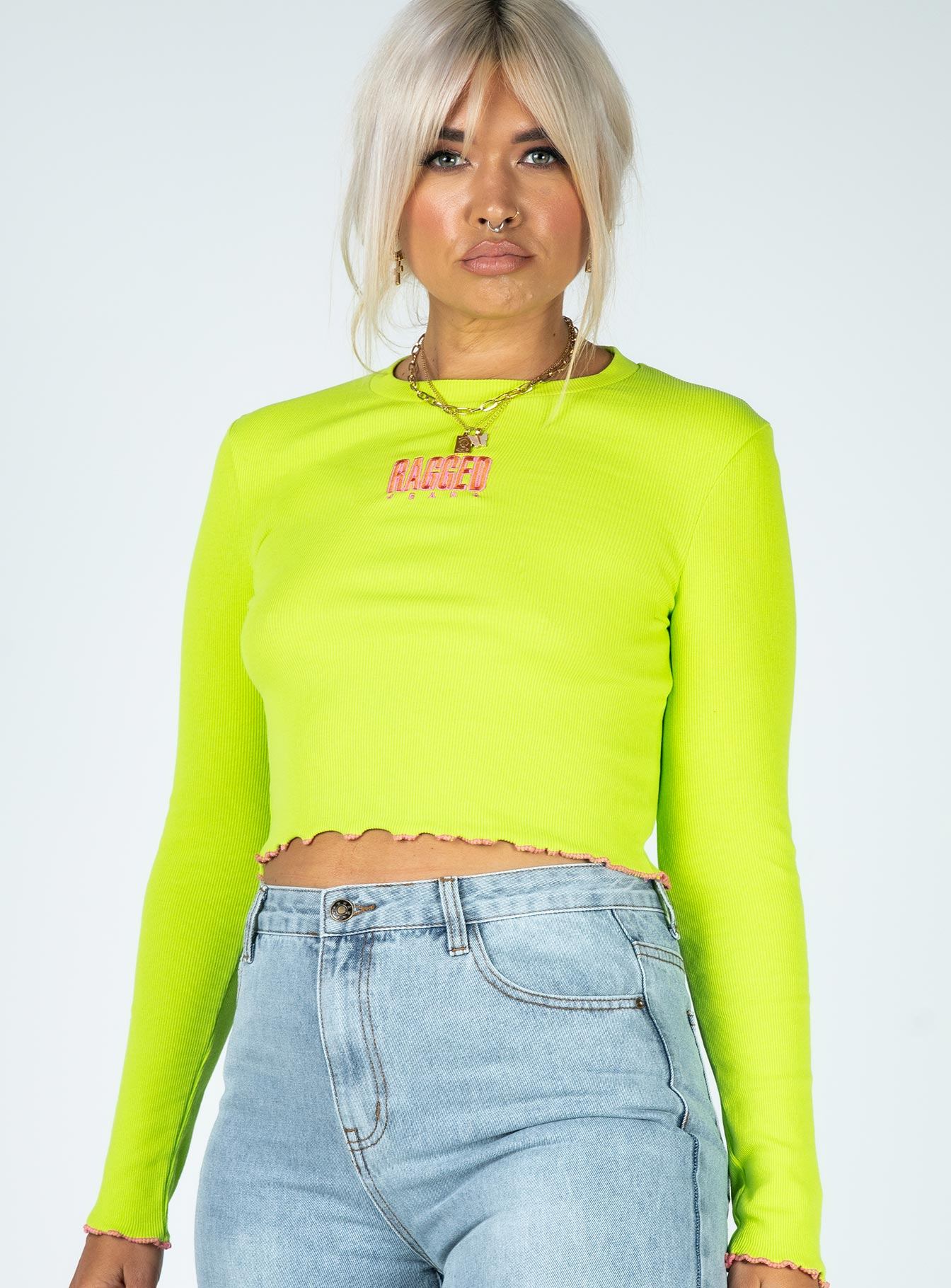 The Ragged Priest Lime Lettuce Hem Long Sleeve