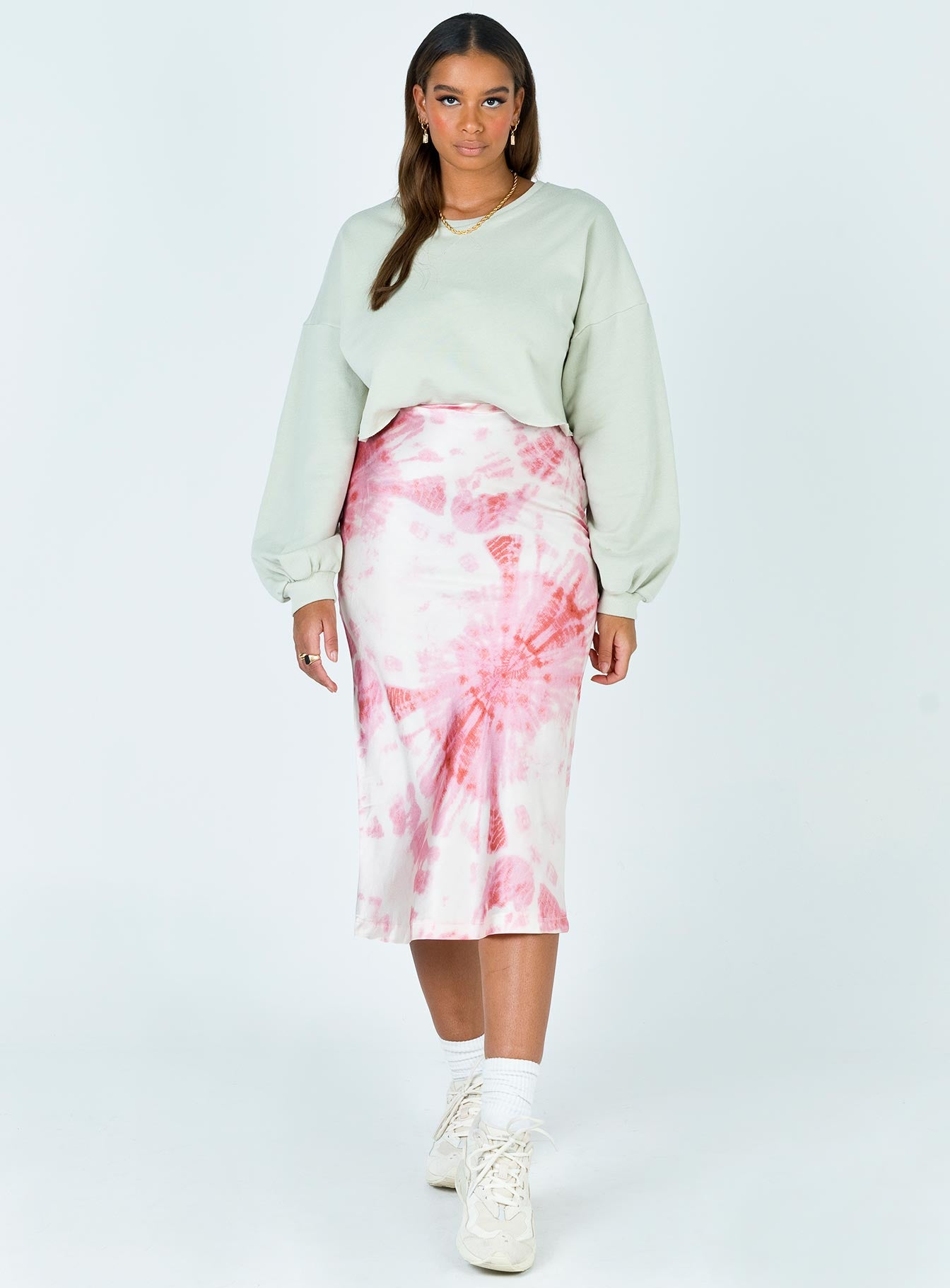 Breaking Free Midi Skirt White