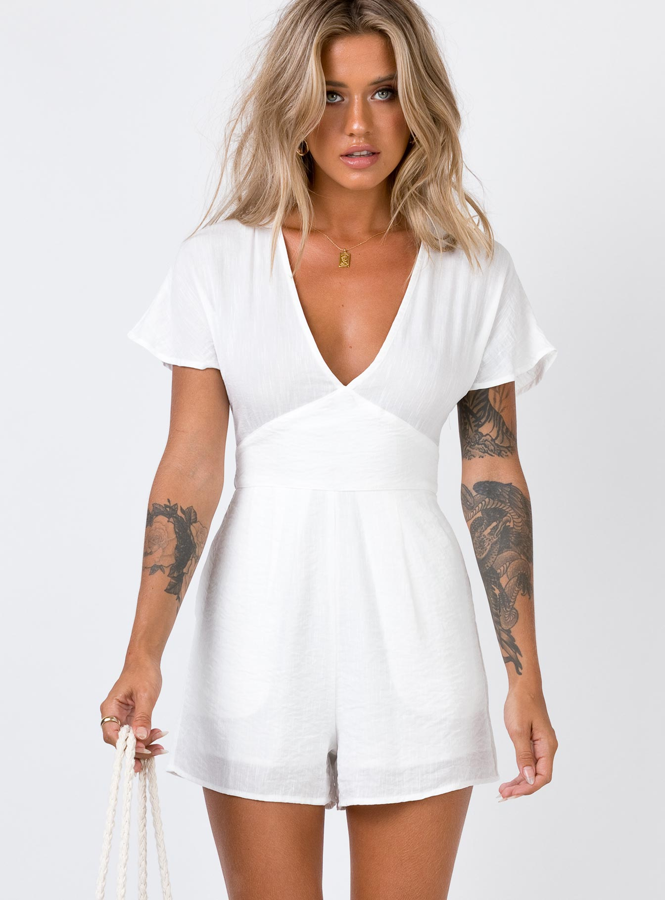 Davis Playsuit White