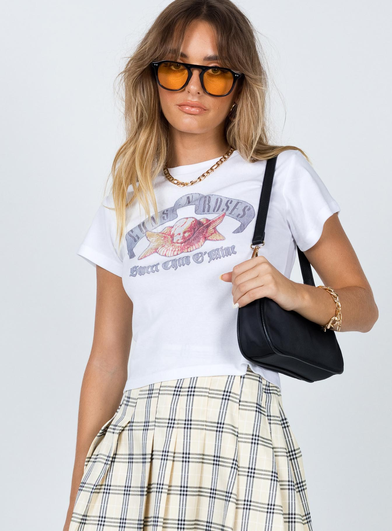 Guns N' Roses Cropped Tee White