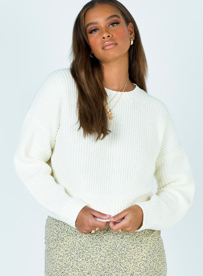 Carleigh Crewneck Sweater White