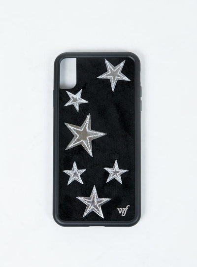 Wildflower Black Velvet Silver Stars iPhone Case XS Max