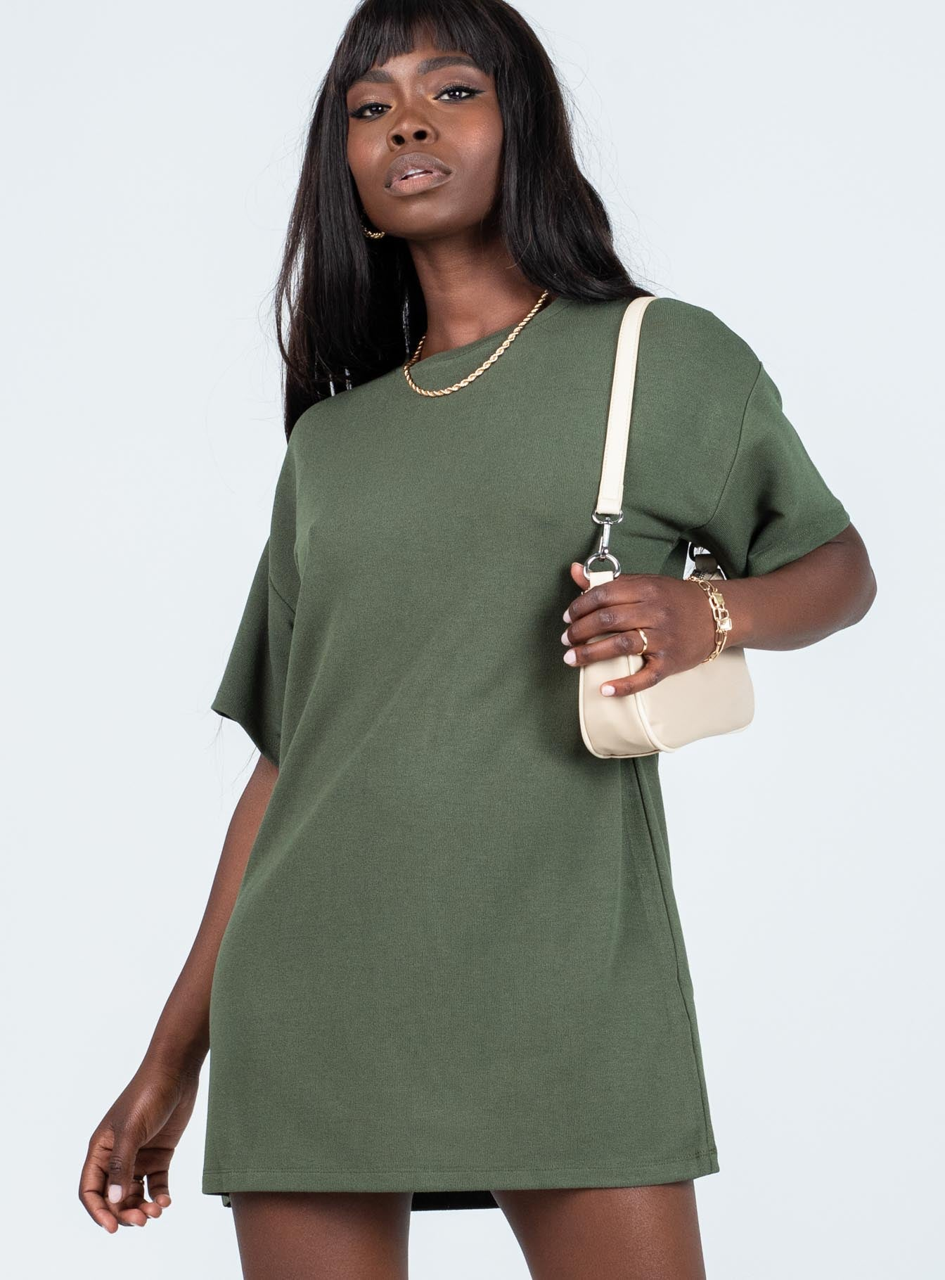 Cayley Tee Mini Dress Emerald