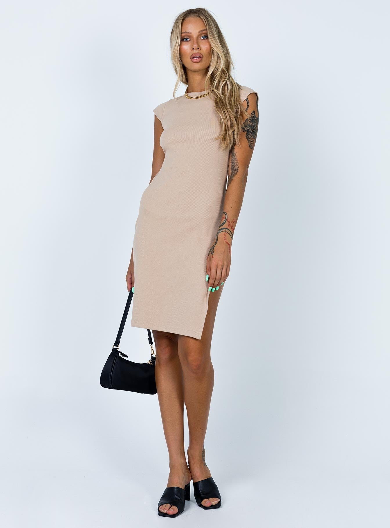 Don't Blame Me Midi Dress Beige