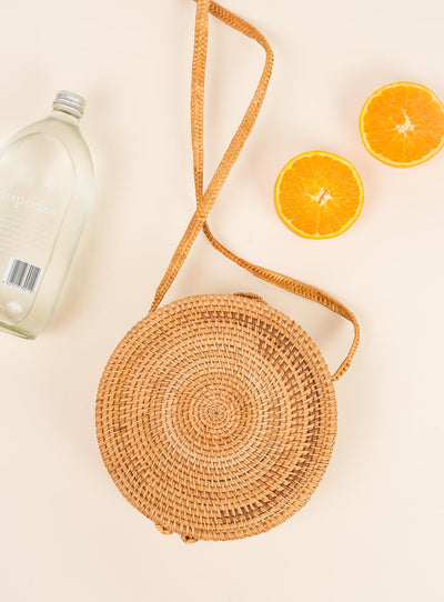 Round Straw Bag Natural