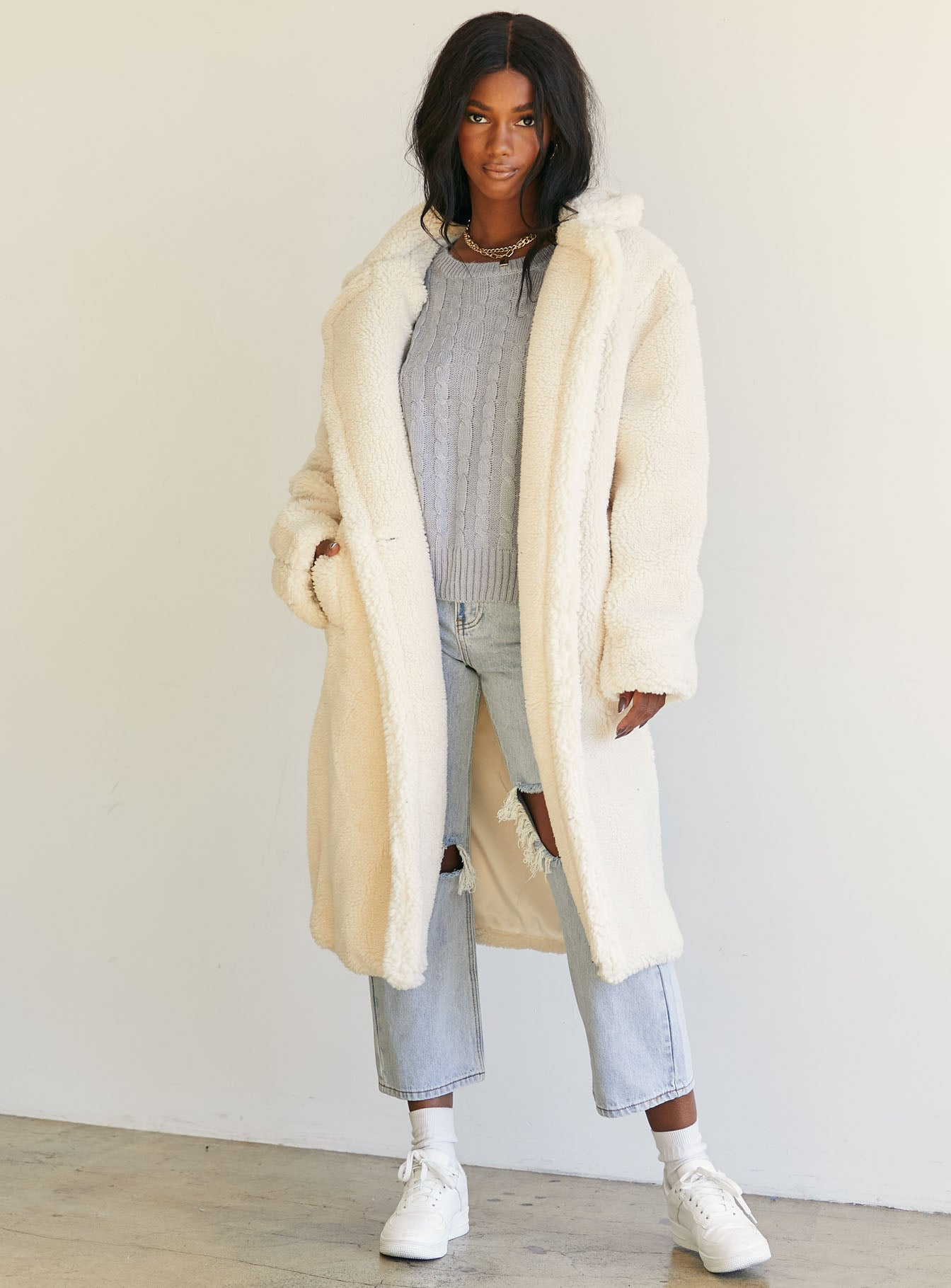 The Teddy Longline Coat Cream