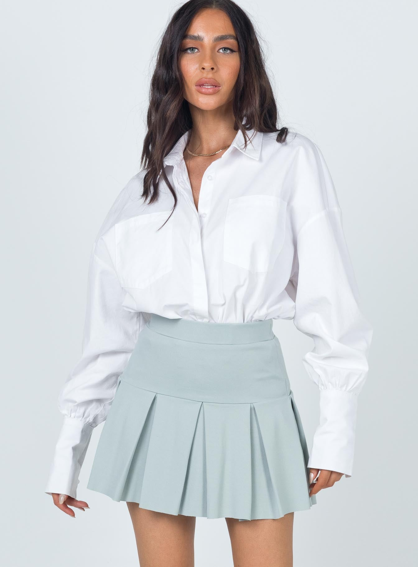 Rescue Me Pleat Skirt Green