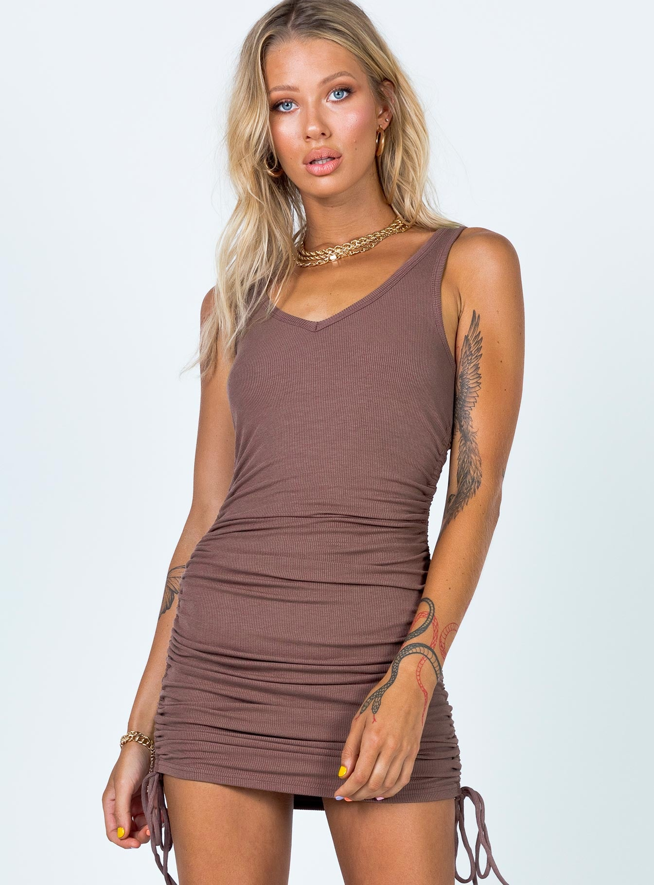 Hassan Mini Dress Chocolate