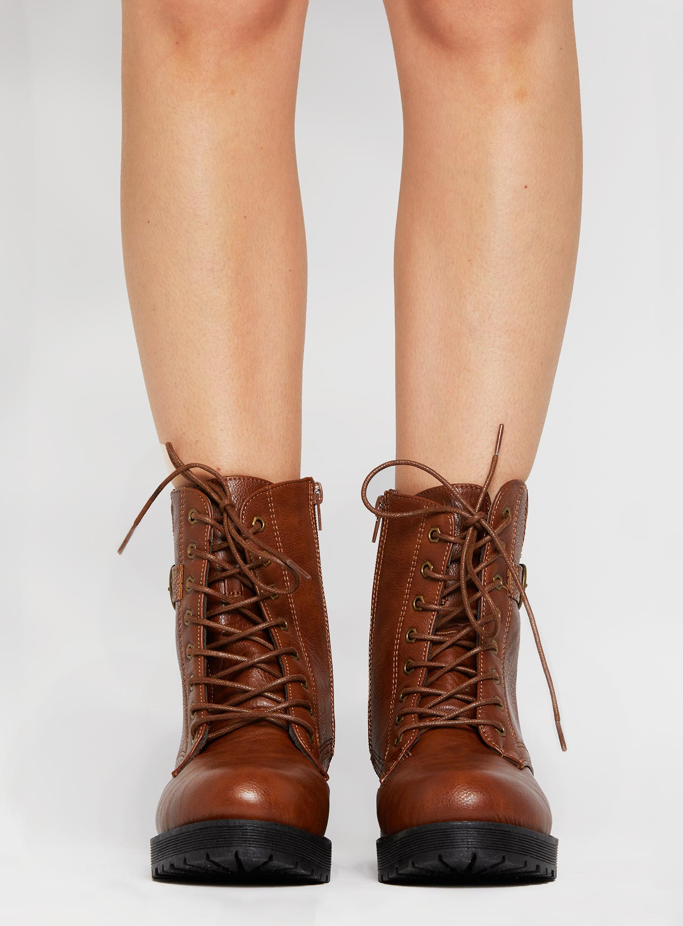 Sebrina Combat Boot Brown