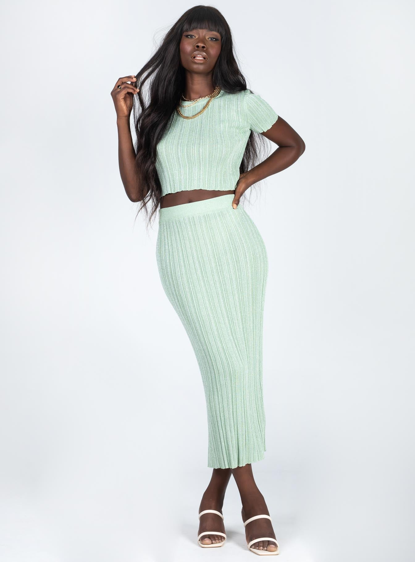 Dont Start Now Maxi Skirt Green