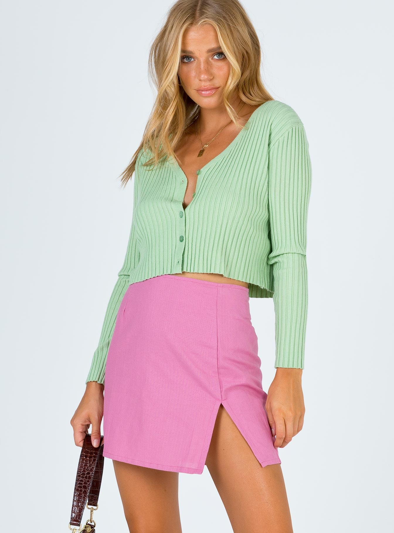 Motel Sheny Mini Skirt Pink