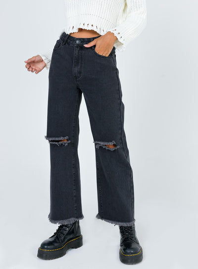 Cece Hammer Wide Leg Knee Rip Jeans Black Denim